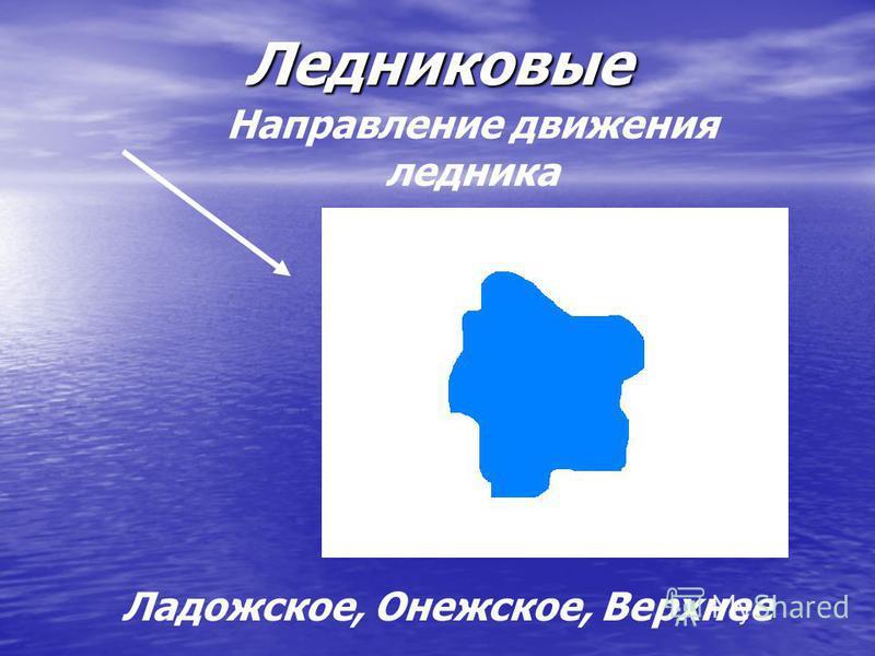 Ледниковые Направление движения ледника Ладожское, Онежское, Верхнее