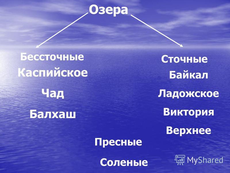 Озера Бессточные Сточные Каспийское Чад Балхаш Байкал Ладожское Виктория Верхнее Пресные Соленые
