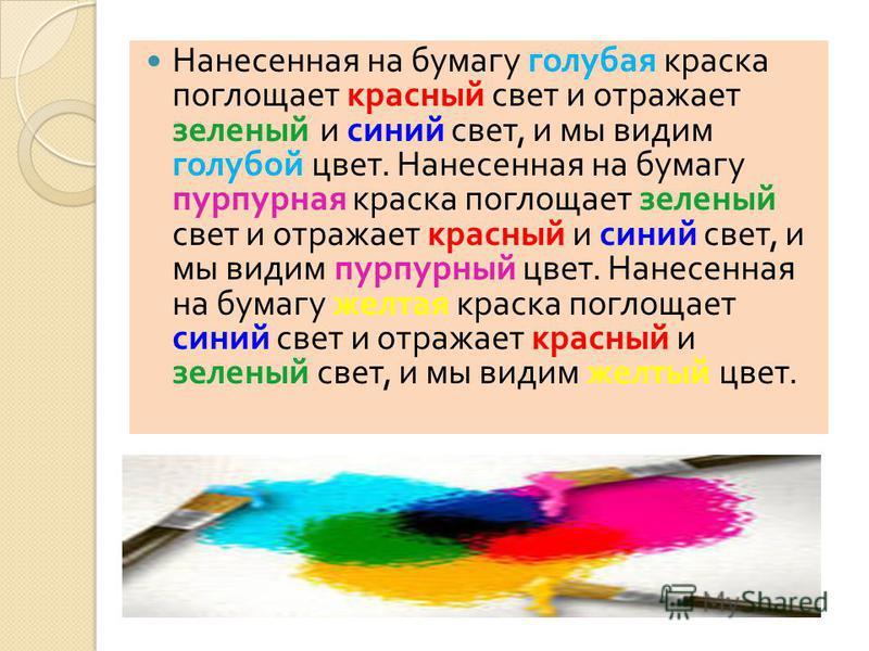 Нанесенная на бумагу голубая краска поглощает красный свет и отражает зеленый и синий свет, и мы видим голубой цвет. Нанесенная на бумагу пурпурная краска поглощает зеленый свет и отражает красный и синий свет, и мы видим пурпурный цвет. Нанесенная н