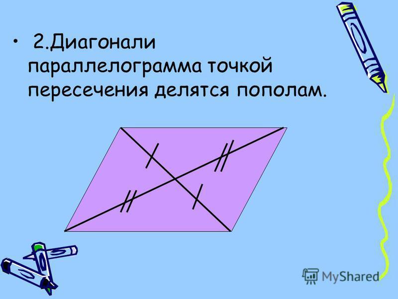 2. Диагонали параллелограмма точкой пересечения делятся пополам.