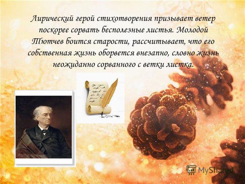 Лирический герой стихотворения призывает ветер поскорее сорвать бесполезные листья. Молодой Тютчев боится старости, рассчитывает, что его собственная жизнь оборвется внезапно, словно жизнь неожиданно сорванного с ветки листка.