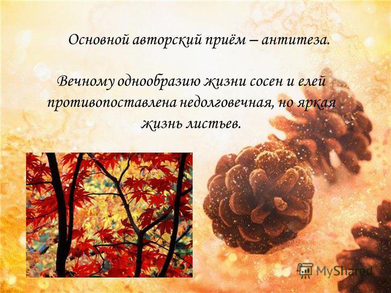 Основной авторский приём – антитеза. Вечному однообразию жизни сосен и елей противопоставлена недолговечная, но яркая жизнь листьев.