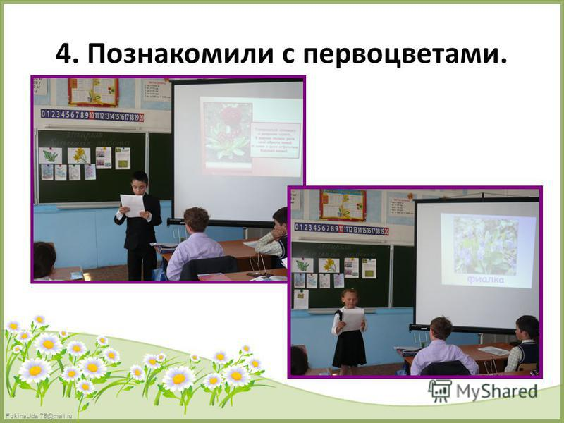 FokinaLida.75@mail.ru 4. Познакомили с первоцветами.
