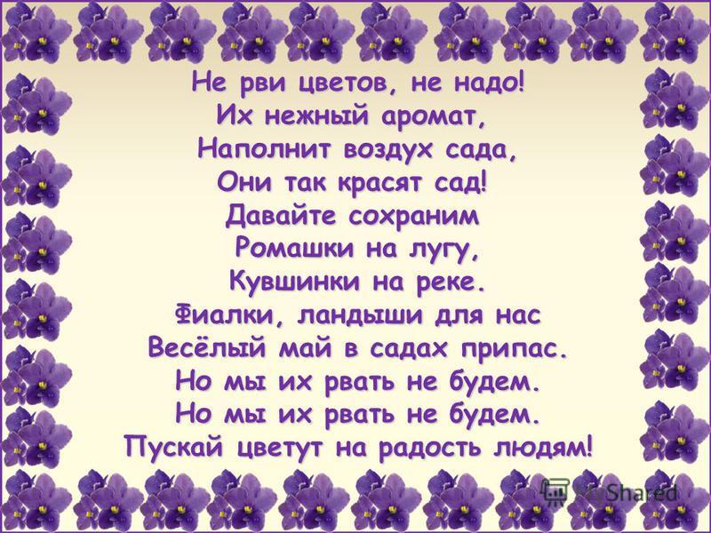 FokinaLida.75@mail.ru Не рви цветов, не надо! Их нежный аромат, Наполнит воздух сада, Они так красят сад! Давайте сохраним Ромашки на лугу, Кувшинки на реке. Фиалки, ландыши для нас Весёлый май в садах припас. Но мы их рвать не будем. Но мы их рвать
