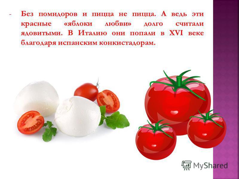 -Без помидоров и пицца не пицца. А ведь эти красные «яблоки любви» долго считали ядовитыми. В Италию они попали в XVI веке благодаря испанским конкистадорам.