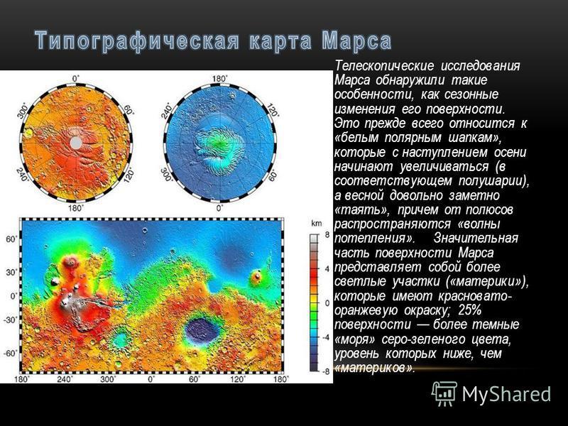 Телескопические исследования Марса обнаружили такие особенности, как сезонные изменения его поверхности. Это прежде всего относится к «белым полярным шапкам», которые с наступлением осени начинают увеличиваться (в соответствующем полушарии), а весной