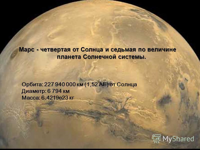 Марс - четвертая от Солнца и седьмая по величине планета Солнечной системы. Орбита: 227 940 000 км (1,52 АЕ) от Солнца Диаметр: 6 794 км Масса: 6.4219 е 23 кг