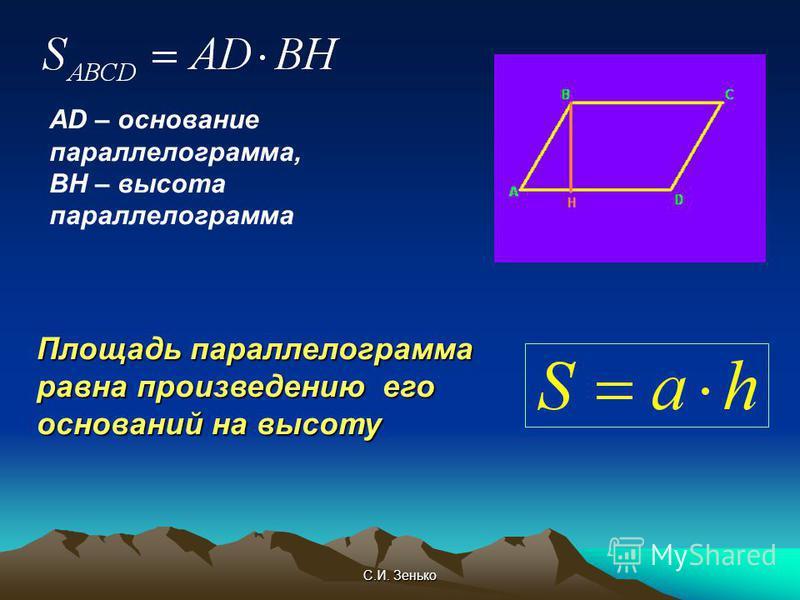 С.И. Зенько AD – основание параллелограмма, ВН – высота параллелограмма Площадь параллелограмма равна произведению его оснований на высоту