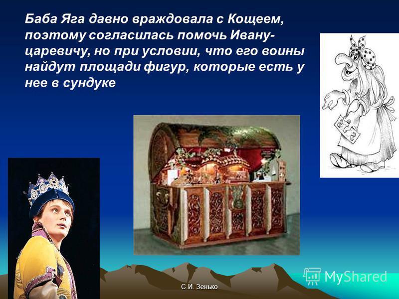 С.И. Зенько Баба Яга давно враждовала с Кощеем, поэтому согласилась помочь Ивану- царевичу, но при условии, что его воины найдут площади фигур, которые есть у нее в сундуке