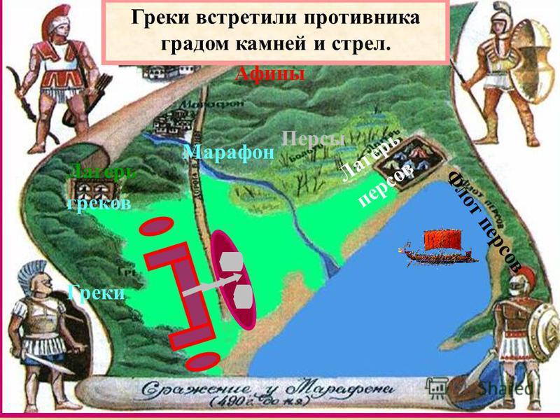 Греки Персы Марафон Лагерь греков Лагерь персов Афины Флот персов Греки встретили противника градом камней и стрел.