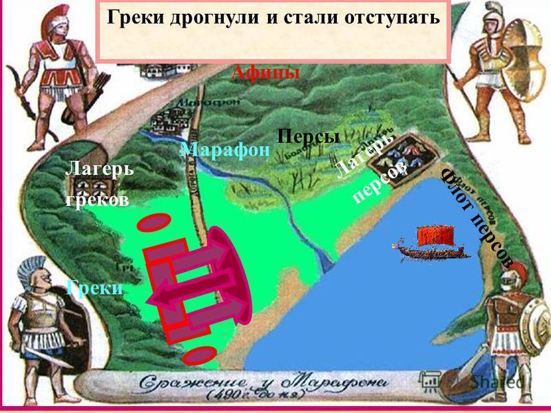 Греки Персы Марафон Лагерь греков Лагерь персов Афины Флот персов Греки дрогнули и стали отступать