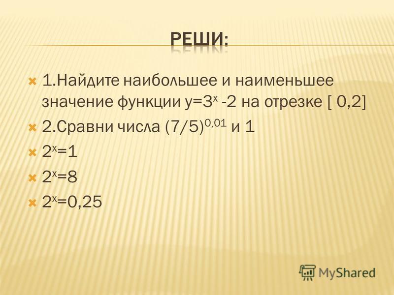 Y=2 x и y=(1/2) x Найти наибольшее и наименьшее значение на промежутках [0,1] ; ( -,0],[ 0, +) 11 х у х у 0 1