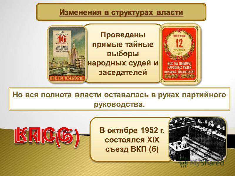 Изменения в структурах власти Проведены прямые тайные выборы народных судей и заседателей Но вся полнота власти оставалась в руках партийного руководства. В октябре 1952 г. состоялся XIX съезд ВКП (б)