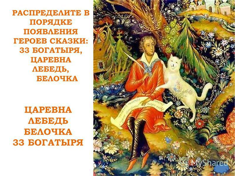 РАСПРЕДЕЛИТЕ В ПОРЯДКЕ ПОЯВЛЕНИЯ ГЕРОЕВ СКАЗКИ: 33 БОГАТЫРЯ, ЦАРЕВНА ЛЕБЕДЬ, БЕЛОЧКАРА СПРЕДЕЛИТЕ ЦАРЕВНА ЛЕБЕДЬ БЕЛОЧКА 33 БОГАТЫРЯ