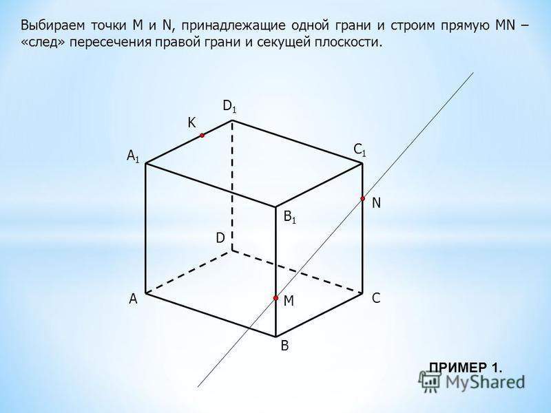 A B C D B1B1 C1C1 D1D1 M N K Выбираем точки М и N, принадлежащие одной грани и строим прямую MN – «след» пересечения правой грани и секущей плоскости. A1A1 ПРИМЕР 1.