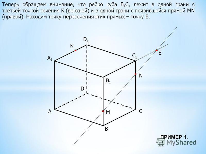 A B C D B1B1 C1C1 D1D1 M N K A1A1 E Теперь обращаем внимание, что ребро куба В 1 С 1 лежит в одной грани с третьей точкой сечения К (верхней) и в одной грани с появившейся прямой MN (правой). Находим точку пересечения этих прямых – точку Е. ПРИМЕР 1.