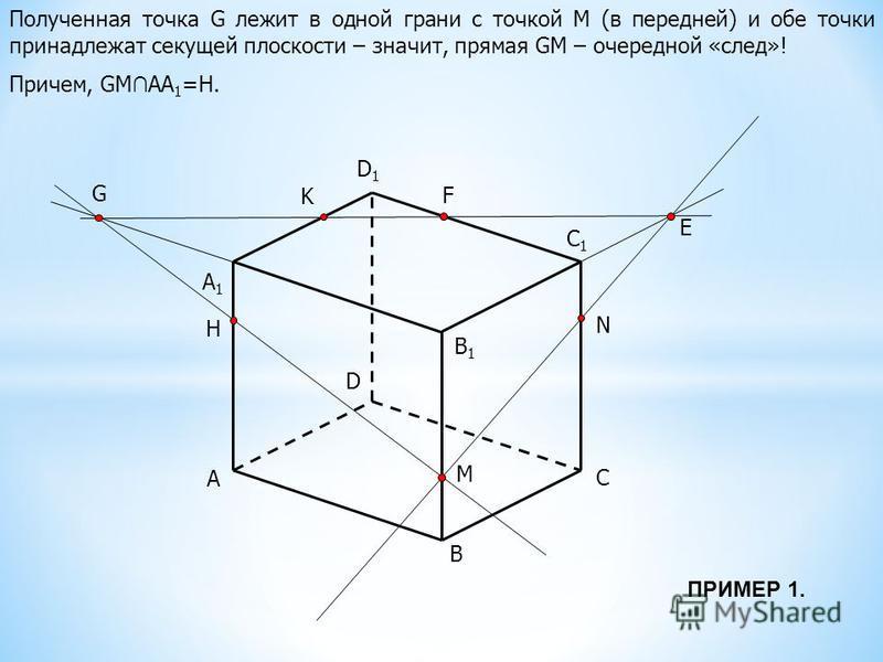 A B C D B1B1 C1C1 D1D1 M N K A1A1 E F G Полученная точка G лежит в одной грани с точкой М (в передней) и обе точки принадлежат секущей плоскости – значит, прямая GM – очередной «след»! Причем, GM АА 1 =Н. H ПРИМЕР 1.