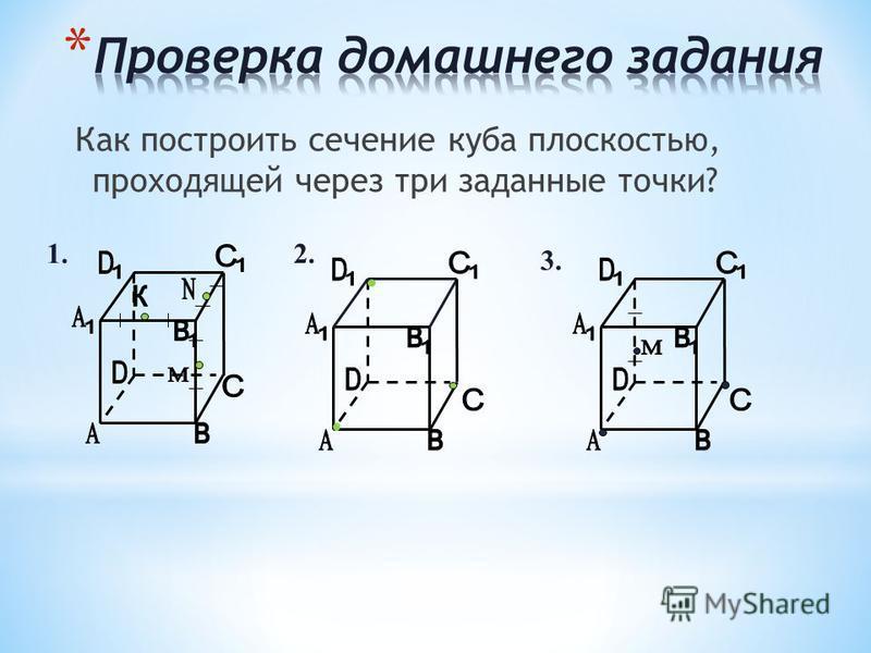 Как построить сечение куба плоскостью, проходящей через три заданные точки? 1.2. 3.