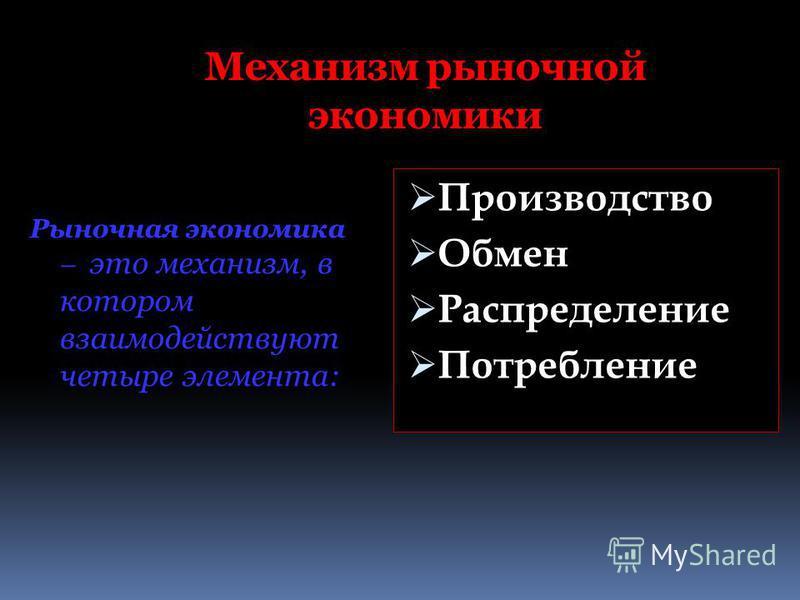 Механизм рыночной экономики Рыночная экономика – это механизм, в котором взаимодействуют четыре элемента: Производство Обмен Распределение Потребление
