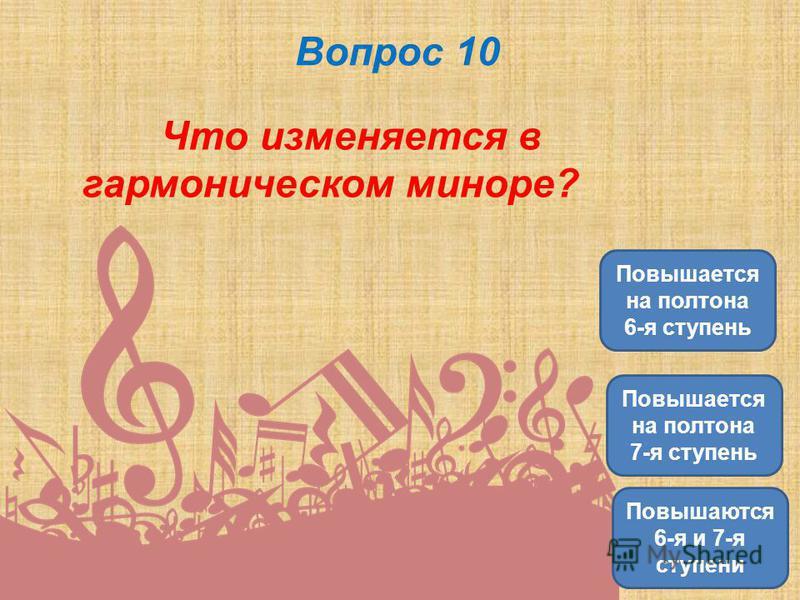 Вопрос 10 Что изменяется в гармоническом миноре? Повышается на полтона 7-я ступень Повышается на полтона 6-я ступень Повышаются 6-я и 7-я ступени