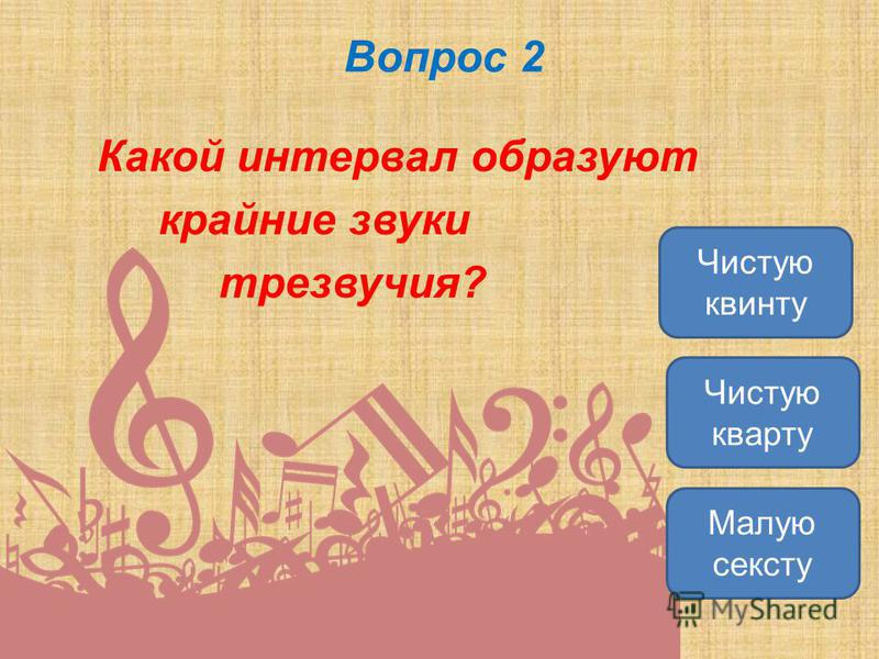 Вопрос 2 Какой интервал образуют крайние звуки трезвучия? Чистую квинту Чистую кварту Малую сексту