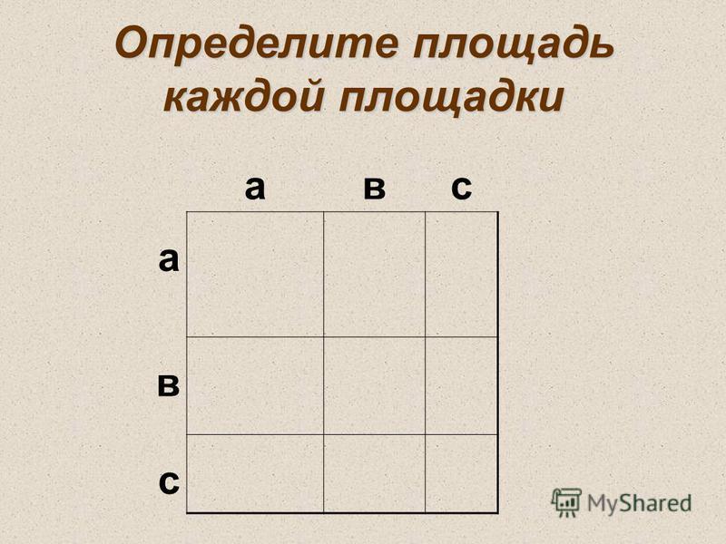 Определите площадь каждой площадки авс а в с