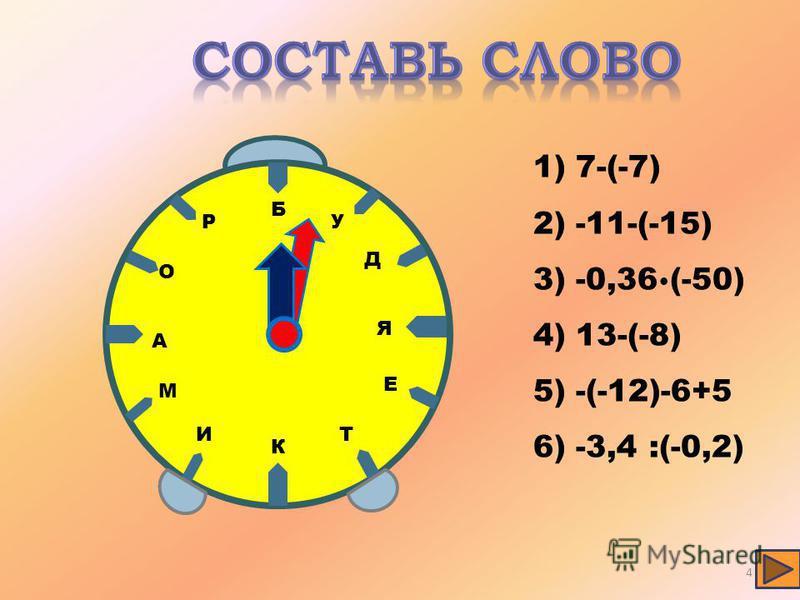 Д Е И О А К Р М Б У Я Т 1) 7-(-7) 2) -11-(-15) 3) -0,36 (-50) 4) 13-(-8) 5) -(-12)-6+5 6) -3,4 :(-0,2) 4