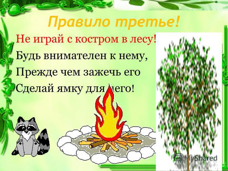 Правило третье! Не играй с костром в лесу! Будь внимателен к нему, Прежде чем зажечь его Сделай ямку для него !