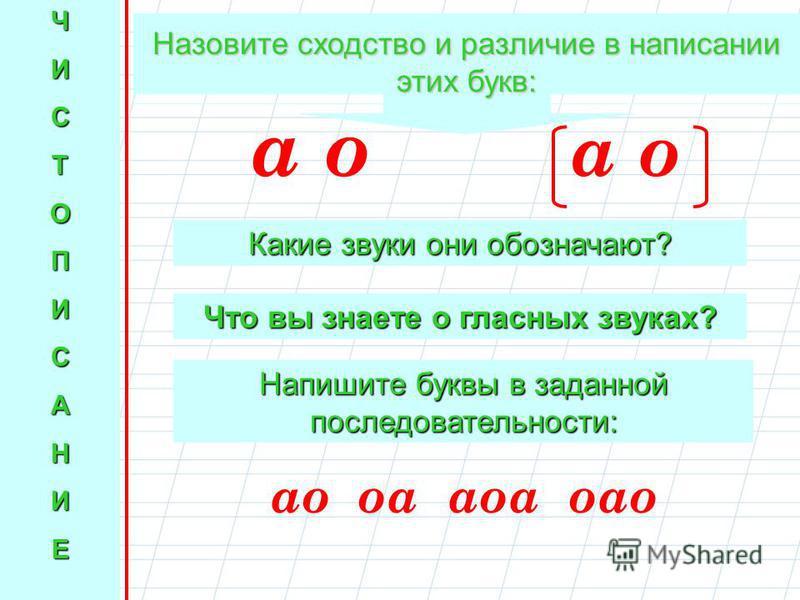 ЧИСТОПИСАНИЕ Назовите сходство и различие в написании этих букв: а о Какие звуки они обозначают? Что вы знаете о гласных звуках? Напишите буквы в заданной последовательности: ао оао аоо оаоо