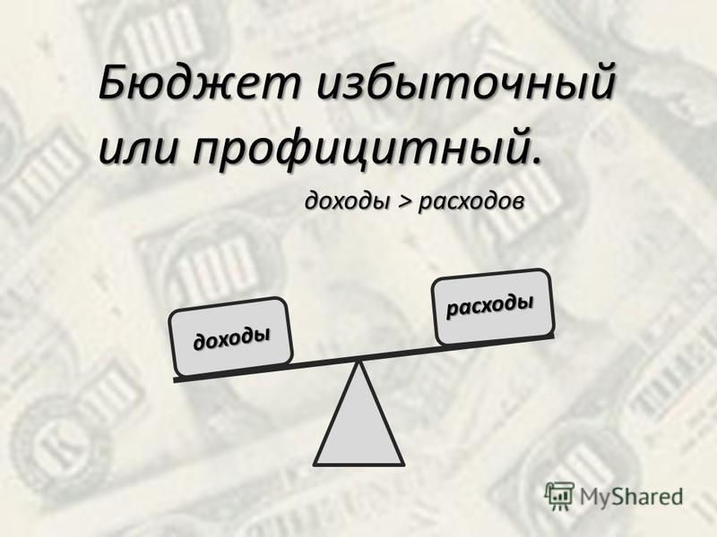 Бюджет избыточный или профицитный. доходы > расходов доходы расходы