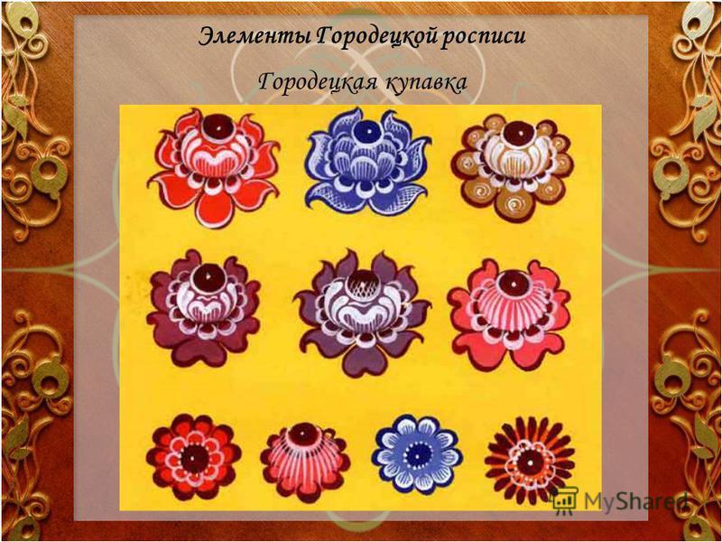 Элементы Городецкой росписи Городецкая купавка