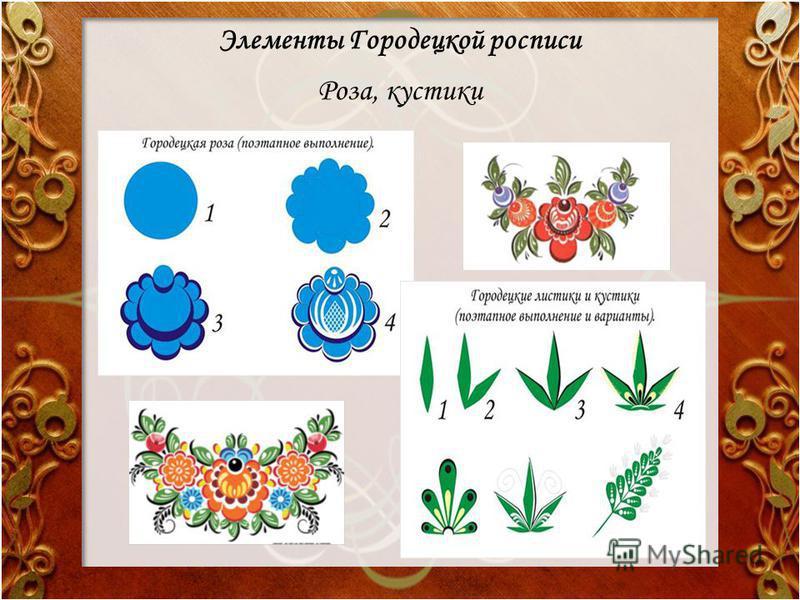 Элементы Городецкой росписи Роза, кустики