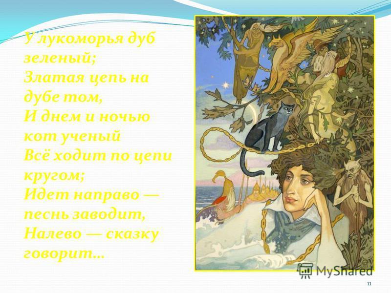 У лукоморья дуб зеленый; Златая цепь на дубе том, И днем и ночью кот ученый Всё ходит по цепи кругом; Идет направо песнь заводит, Налево сказку говорит… 11