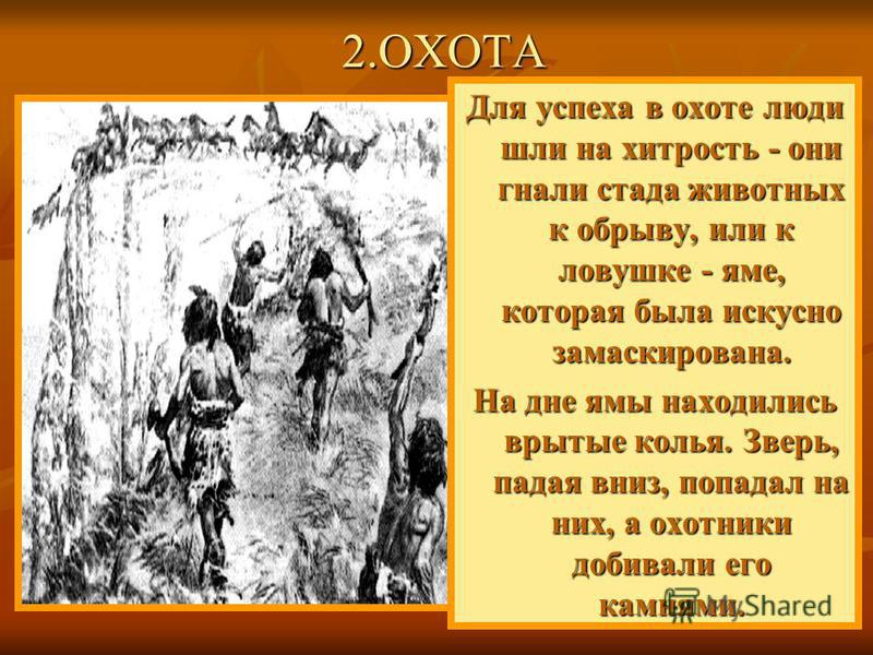 Для успеха в охоте люди шли на хитрость - они гнали стада животных к обрыву, или к ловушке - яме, которая была искусно замаскирована. На дне ямы находились врытые колья. Зверь, падая вниз, попадал на них, а охотники добивали его камнями. 2.ОХОТА