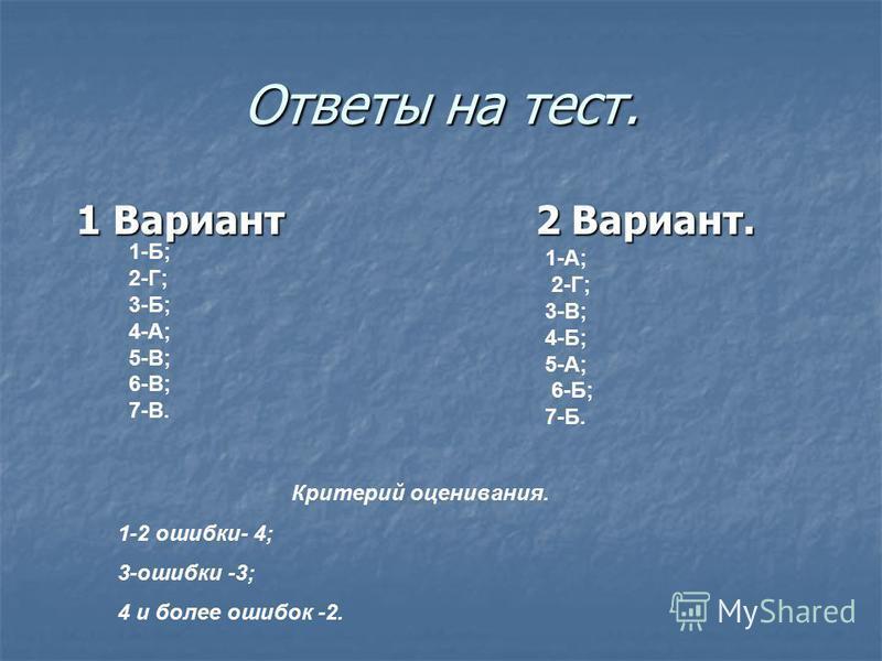 Ответы на тест. 1 Вариант 2 Вариант. 1 Вариант 2 Вариант. 1-Б; 2-Г; 3-Б; 4-А; 5-В; 6-В; 7-В. 1-А; 2-Г; 3-В; 4-Б; 5-А; 6-Б; 7-Б. Критерий оценивания. 1-2 ошибки- 4; 3-ошибки -3; 4 и более ошибок -2.