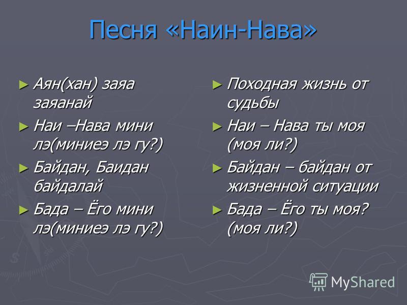 Песня «Наин-Нава» Аян(хан) зала заланай Аян(хан) зала заланай Наи –Нава мини лэ(миниеэ лэ гу?) Наи –Нава мини лэ(миниеэ лэ гу?) Байдан, Баидан байдалай Байдан, Баидан байдалай Бада – Ёго мини лэ(миниеэ лэ гу?) Бада – Ёго мини лэ(миниеэ лэ гу?) Походн