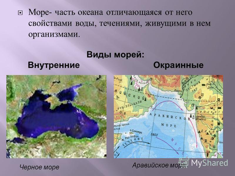 Море - часть океана отличающаяся от него свойствами воды, течениями, живущими в нем организмами. Черное море Аравийское море Виды морей: Внутренние Окраинные