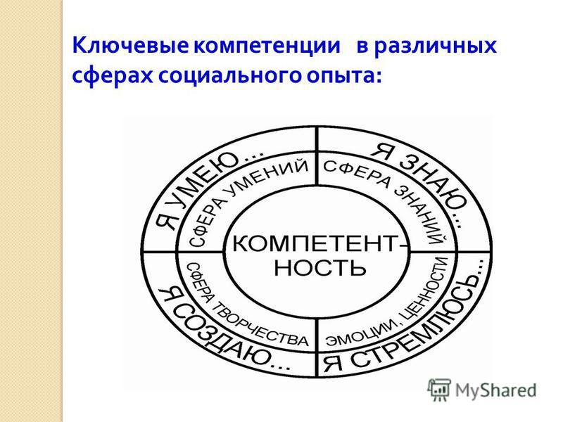 Ключевые компетенции в различных сферах социального опыта :