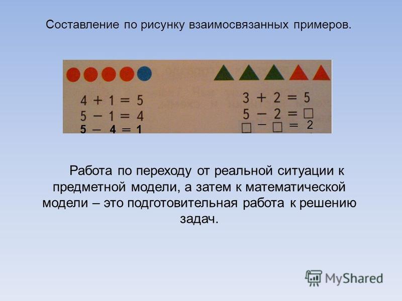Составление по рисунку взаимосвязанных примеров. 2 Работа по переходу от реальной ситуации к предметной модели, а затем к математической модели – это подготовительная работа к решению задач.
