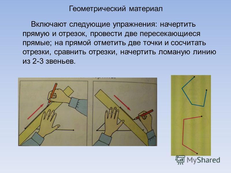 Геометрический материал Включают следующие упражнения: начертить прямую и отрезок, провести две пересекающиеся прямые; на прямой отметить две точки и сосчитать отрезки, сравнить отрезки, начертить ломаную линию из 2-3 звеньев.