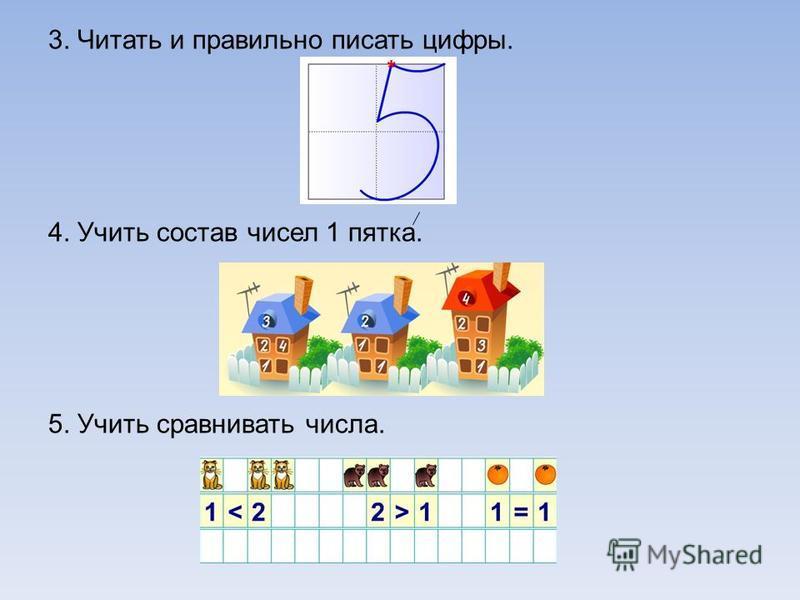 3. Читать и правильно писать цифры. 4. Учить состав чисел 1 пятка. 5. Учить сравнивать числа.