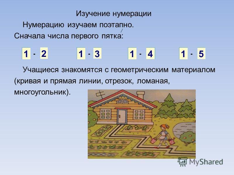 Изучение нумерации Нумерацию изучаем поэтапно. Сначала числа первого пятка: Учащиеся знакомятся с геометрическим материалом (кривая и прямая линии, отрезок, ломаная, многоугольник). ----