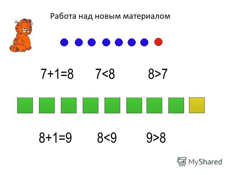 Работа над новым материалом 7+1=87<88>7 8+1=98<99>8