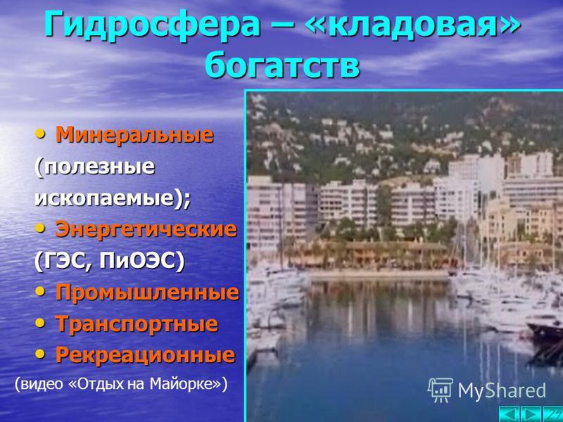 Гидросфера – «кладовая» богатств Водные объекты – не только источники необходимой воды, это и «кладовая» природных ресурсов: Биологические (морепродукты); 28