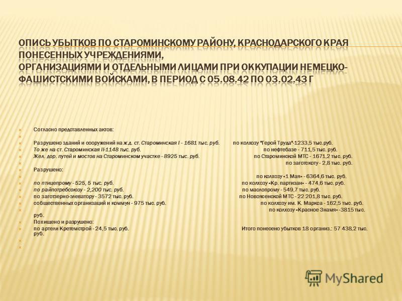 Согласно представленных актов: Разрушено зданий и сооружений на ж.д. ст. Староминская I - 1681 тыс. руб. по колхозу