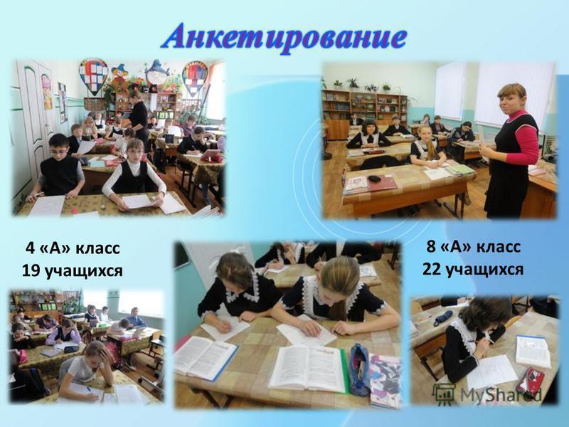 4 «А» класс 19 учащихся 8 «А» класс 22 учащихся