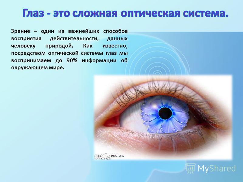 Зрение – один из важнейших способов восприятия действительности, данных человеку природой. Как известно, посредством оптической системы глаз мы воспринимаем до 90% информации об окружающем мире.