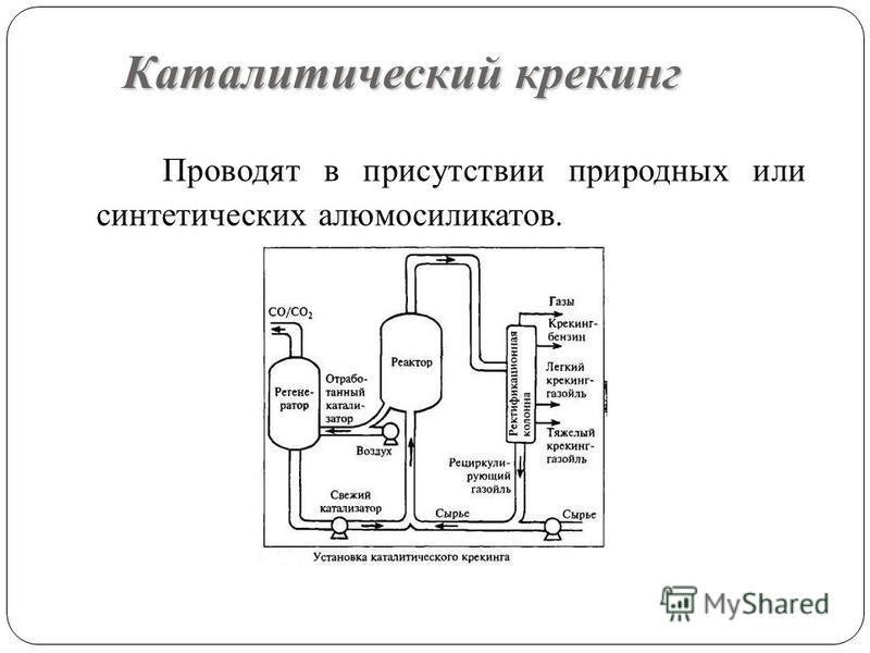 Каталитический крекинг Проводят в присутствии природных или синтетических алюмосиликатов.