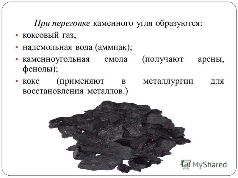 При перегонке При перегонке каменного угля образуются: коксовый газ; надсмольная вода (аммиак); каменноугольная смола (получают арены, фенолы); кокс (применяют в металлургии для восстановления металлов.)