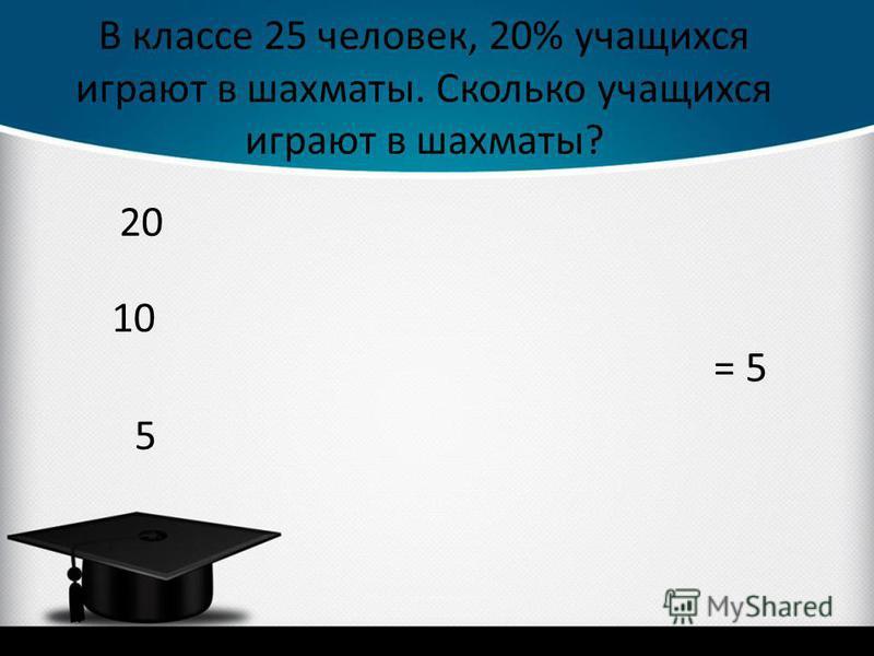 В классе 25 человек, 20% учащихся играют в шахматы. Сколько учащихся играют в шахматы? 5 = 5 20 10